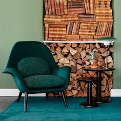 Meet the sculptural Swoon Lounge Chair dressed in elegant shades of green velvet - take a seat and get an instant feeling of relaxation... next to the sleek Pon Coffee Tables designed by Jasper  Morrison.
