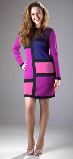 Radiant Orchid color of 2014 dress tunic  knitted by SandrasMagic, $100.00