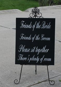 """Wedding signs/ Reception tables/Seating Plan/ """"Friends of the Bride, Friends of the Groom/Xlarge sign/Elegant Black/White"""