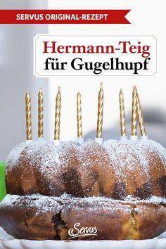 So macht man einen Hermannkuchen. Dieser lustige Kuchenkerl bedeutet Spaß für deine ganzen Freunde. Pflege den Germteig gut, dann vermehrt er sich! #hermannkuchen #gugelhupf #nachspeise #dessert #rezepte #rezept #rezeptideen #hausmannskost #ichliebeessen #österreich #österreichischeküche #kochen #regionaleküche #regionalkochen #servus #servusmagazin #servusinstadtundland Caramel Apples, Desserts, Food, Cooking, Deco, Ring Cake, Friends, Tailgate Desserts, Deserts