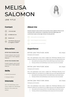 Professional resume template for word Modern resume template If you like this design. Check others on my CV template board :) Thanks for sharing! Modern Resume Template, Resume Template Free, Creative Resume Templates, Creative Resume Design, Interior Design Resume, Nursing Resume Template, Checklist Template, Printable Templates, Conception Cv