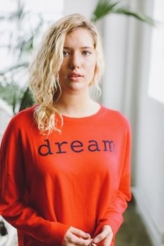 "Description Cozy Cashmere blend sweater ""Dream"" embroidered on front Lightweight Crewneck Size/Fit True to Size Model wearing size 1 Model Measurements - Size Model, Cashmere, Crew Neck, Graphic Sweatshirt, Product Description, Sweatshirts, Spring, Fitness, Sweaters"