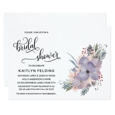 Watercolor Floral & Flowing Script Bridal Shower Card - purple floral style gifts flower flowers diy customize unique