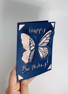 Cricut Birthday Cards, Cricut Cards, Handmade Birthday Cards, Card Ideas Birthday, Digital Birthday Cards, Birthday Card Pop Up, Creative Birthday Cards, Happy Birthday Template, Birthday Diy