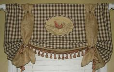 Custom Tie Up Balloon London Valance Curtain French Country Burlap Rooster Check #Custommade #FrenchCountryFarmhouseshabbyChic