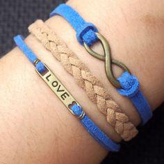 Infinity Love Bracelet for Girl friend Charm in Bronze-Blue Imitation Leather Brown Braided Leather Bracelet   Handmade Bracelet, DIY Bracelets, Handmade Men Bracelets