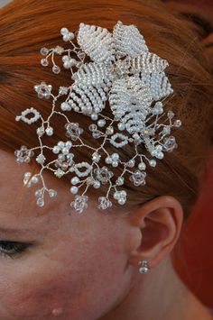 Unique hand crafted beaded tiara.