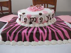 Jamaya Pink and Brown Baby Shower Cake1