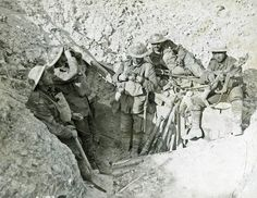 Canadians in captured German trench at the Battle of Hill 70