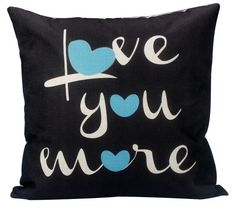 Love you more  Pillow Cover on black by UniikStuff on Etsy