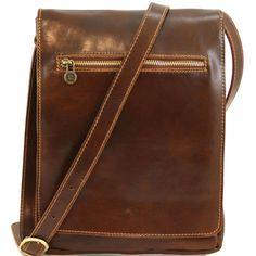 Braune Leder Schultertasche für Herren.Die Innenseite - Innenfutter ist aus Baumwolle. Das Innere der Tasche hat einen Kammer und 1 Kompartiment für Tablet. -