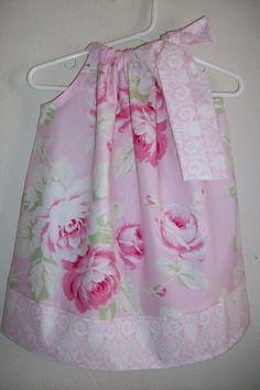 Pillowcase Dress Sunshine Rose Pink Floral Tanya Whelan Summer Wedding toddler girl size 18m on Etsy, $25.00