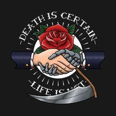 Check out this awesome 'death+is+certain' design on @TeePublic!