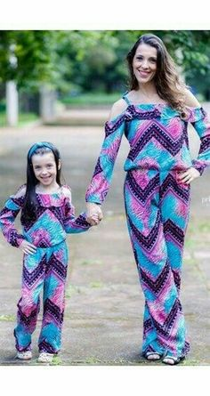 Colorful from top to bottom Mommy And Me Outfits, Kids Outfits, Cute Outfits, Mother Daughter Fashion, Mom Daughter, Mom Dress, Baby Dress, Homecoming Outfits, Matching Family Outfits