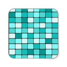 Pretty Turquoise Aqua Teal Mosaic Tile Pattern Square Sticker #stickers