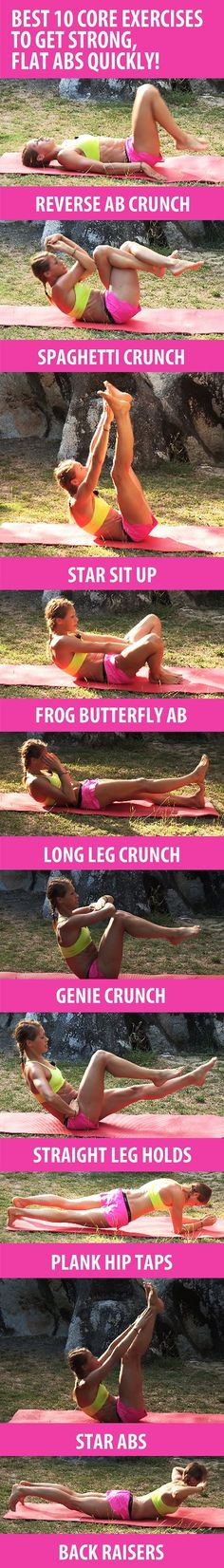 These 10 core exercises will help you sculpt six-pack abs, build core strength, and get rid of belly fat quickly. Recommended reps: BEGINNERS 8-10, INTERMEDIATE 10-15, ADVANCED 20-30+ -abworkout -muffintop -flatbelly -flatstomach -workoutforwomen -upperabs -lowerabs -bellyfat