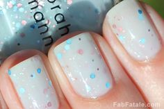 Glitter In The Air vs. Whimsical.  I want this color in my collection now