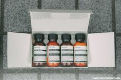 Aesop Jet Set Kit - Classic Shampoo, Classic Conditioner, Geranium Leaf Body Cleanser, Rind Concentrate Body Balm - PASSPORT OUT