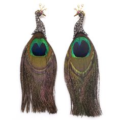 Lotus Arts de Vivre Rose-Cut Diamond & Feather Peacock Earrings