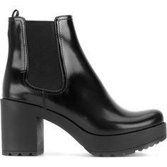 Prada platform Chelsea boots (43.210 RUB) ❤ liked on Polyvore featuring shoes, boots, ankle booties, black, black leather booties, black high heel booties, black platform boots, high heel booties and black chelsea boots