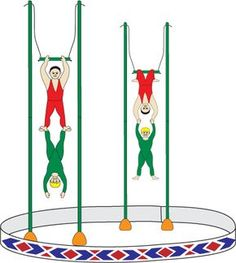Craft project: Printable patterns for making circus trapeze performers and instructions for making a trapeze. Put these together with other crafts from the Under the Bigtop craft series to make a paper circus. Insect Crafts, Vbs Crafts, Crafts For Boys, Projects For Kids, Art For Kids, Art Projects, Paper Crafts, Circus Theme Crafts, Circus Activities