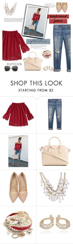 """""""Boyfriend Jeans"""" by wendyfer on Polyvore featuring Gap, Givenchy, Charlotte Olympia, Stella & Dot, Farah Khan, jeans, boyfriendjeans and fashionset"""