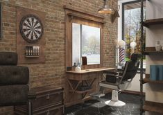 Winchester Barber Shop by «Grafit Architects Industrial Apartment, Industrial Bedroom, Industrial House, Industrial Furniture, Industrial Wallpaper, Industrial Bookshelf, Industrial Windows, Industrial Office, Industrial Table
