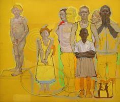 H. CRAIG HANNA, ARRANGEMENT OF FIGURES IN YELLOW, 2008, Huile sur Bois, 161 x 196 cm, Triptyque