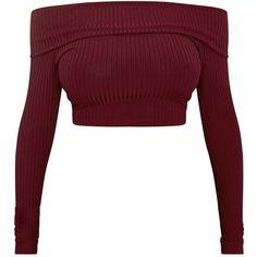 Shape Chastity Burgundy Ribbed Bardot Top ❤ liked on Polyvore featuring tops, crop top, shirts, rib top, rib shirt, white ribbed top, burgundy top and white shirt