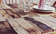 """Wood / pallet, DIY table (check that pallets are labelled ""HT"" heat treated NOT ""MB"" for chemicals and new. Otherwise you'll run the risk of exposure to harmful chemicals, fungi and listeria!"
