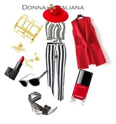 """DONNA ITALIANA Red black white"" by varnima on Polyvore featuring WithChic, River Island, Alice + Olivia, Gucci, Chanel, NARS Cosmetics and Luxury Rebel"