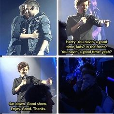 Harry calling out two guys during the show...  read this in his voice hahaha XD