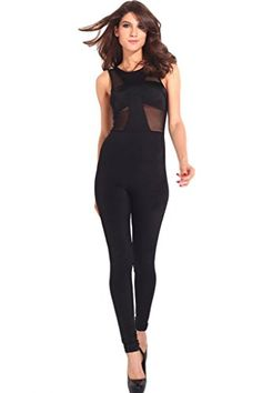 Conffetti Women Belt Comfort Mesh Off Shoulder Cross Hollow Bodysuit Jumpsuits