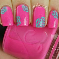 Neon Turquoise and Pink Floral Nails