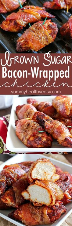 Brown Sugar Bacon Wrapped Chicken is one of my favorite dinners! Making this again tonight! You roll the chicken in spices and then wrap in bacon. Then roll in brown sugar and bake. SO easy, tender, j