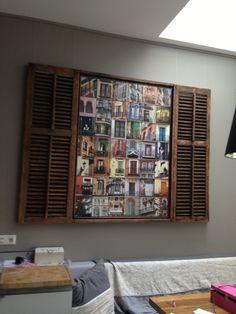 Brocante ; Sfeervolle muurdecoratie met louvre luiken van oud hout ...