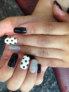 Party nails! Polka Dottie with sparkles