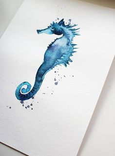 Sea horse watercolor original fish watercolor sea horse art