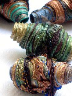 10 mixed media textile art fiber beads by CAROLYNSAXBYTEXTILES, £7.00