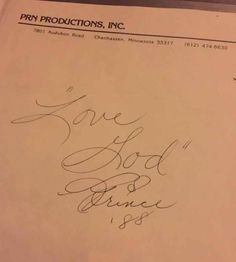 Prince autograph: 1988 Lovesexy tour