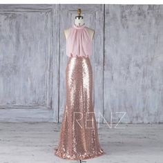 Bridesmaid Dress Rose Gold Sequin Dress Blush Chiffon Dress Wedding Dress Ruched High Neck Maxi Dress Separate Top Fitted Party – The World Rose Gold Sequin Dress, Sequin Top, Rose Gold Bridesmaid, Prom Dresses, Wedding Dresses, Jr Bridesmaid Dresses, Beach Dresses, Chiffon Dress, Just In Case