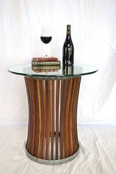 Wine Barrel Side Table Concave  CRAFTSMAN by winecountrycraftsman, $400.00   #wine #winecountry #Napa #NapaValley #winebarrel #winery #grapevine #winetasting #winebar #winecellar #natural #organic #recycled #upcycled #salvaged #green #ecofriendly #reclaimed #vineyard #wineart #barrelstaves #californiawine #pasorobles #vintage #vino #wineenthusiast #winelovers #winerack