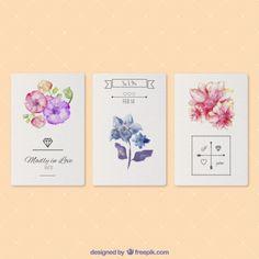 Cartões de aquarela dos Namorados