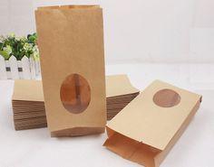 Free shipping 15*(21+4)CM kraft paper window bag food packaging bags kraft paper tea bags