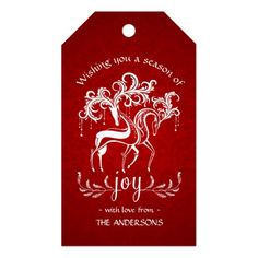 Romantic Christmas Reindeer Joy - Red White Damask Gift Tags