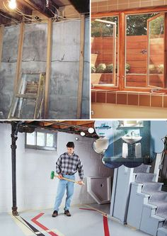 Basement Ideas for Finishing and Waterproofing: Ideas, projects and tips for finishing, waterproofing and organizing your basement. http://www.familyhandyman.com/basement