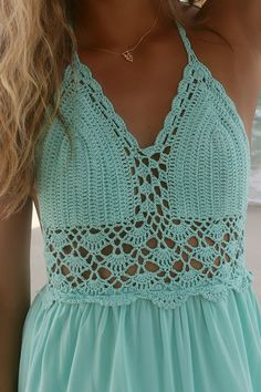French Polynesia Crochet Halter Top Mint Maxi Dress