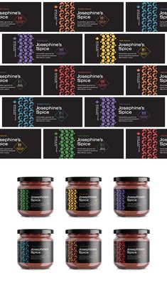 Visual Identity and Packaging Design for Josephine's Spices. Handcrafted, gourmet hot sauces, inspired by West African cuisine. Spices Packaging, Jar Packaging, Honey Packaging, Chocolate Packaging, Food Packaging Design, Packaging Design Inspiration, Brand Packaging, Olives, Pepper