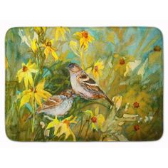 East Urban Home Sparrows in the Field Memory Foam Bath Rug