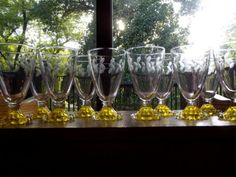 10-Footed-Tumbler-Water-Goblets-Yellow-Boopie-Laurel-etch-Anchor-Hocking-ball
